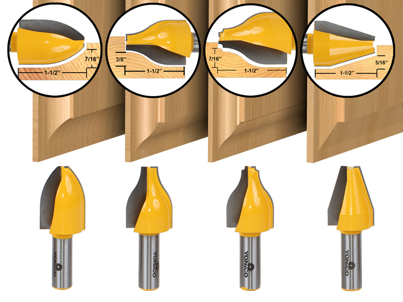 "Bit Vertical Raised Panel Router Bit Set - 1/2"" Shank - Yonico 12404"