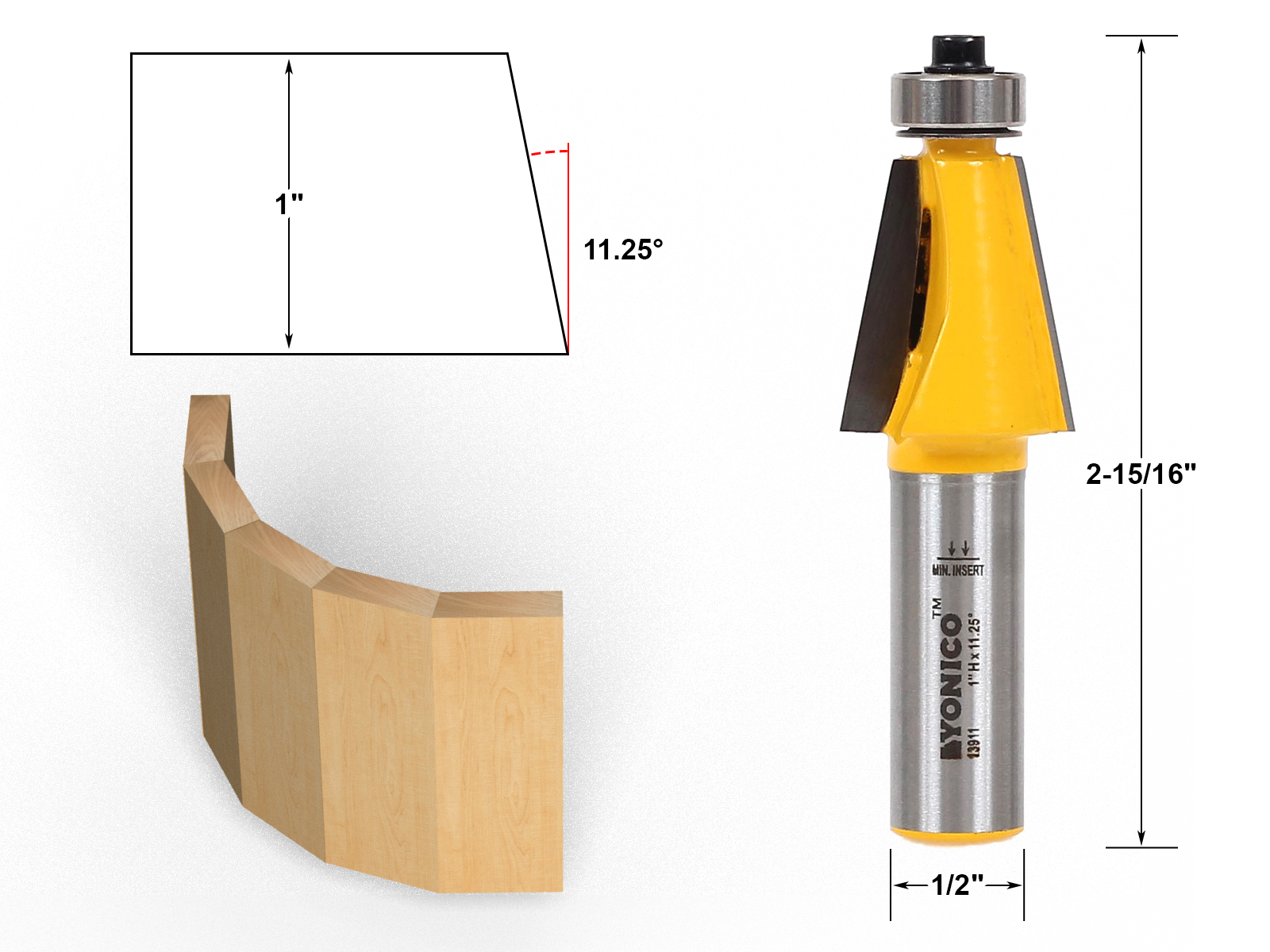 1 NEW  Yonico 22.5° Chamfer Carbide Tip Router Bit 1//2 Shank Bearing y4