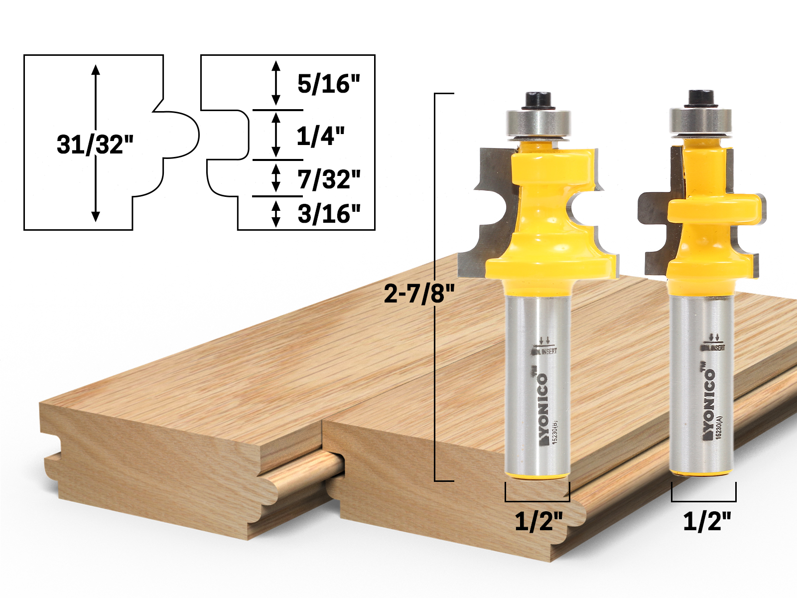 """2 Tongue and Groove Router Bit 8mm 5//16/"""" Shank,1//2/'/' 5//16/'/' Cut Diameter"""